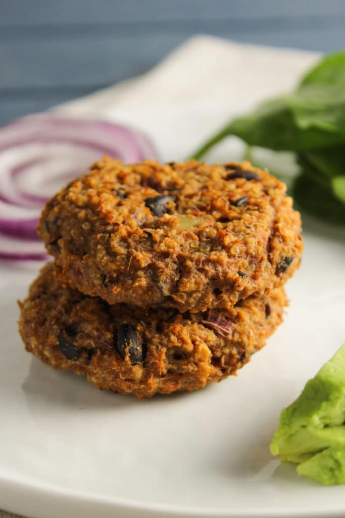 2 Sweet Potato Cakes with Quinoa and Black Beans