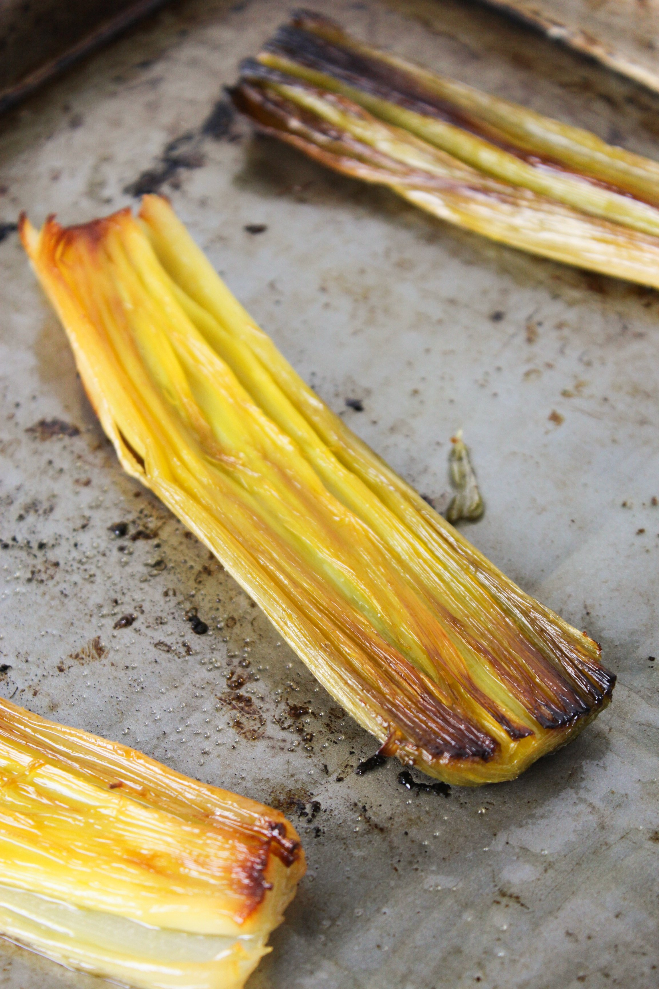 Simple Slow Roasted Leeks