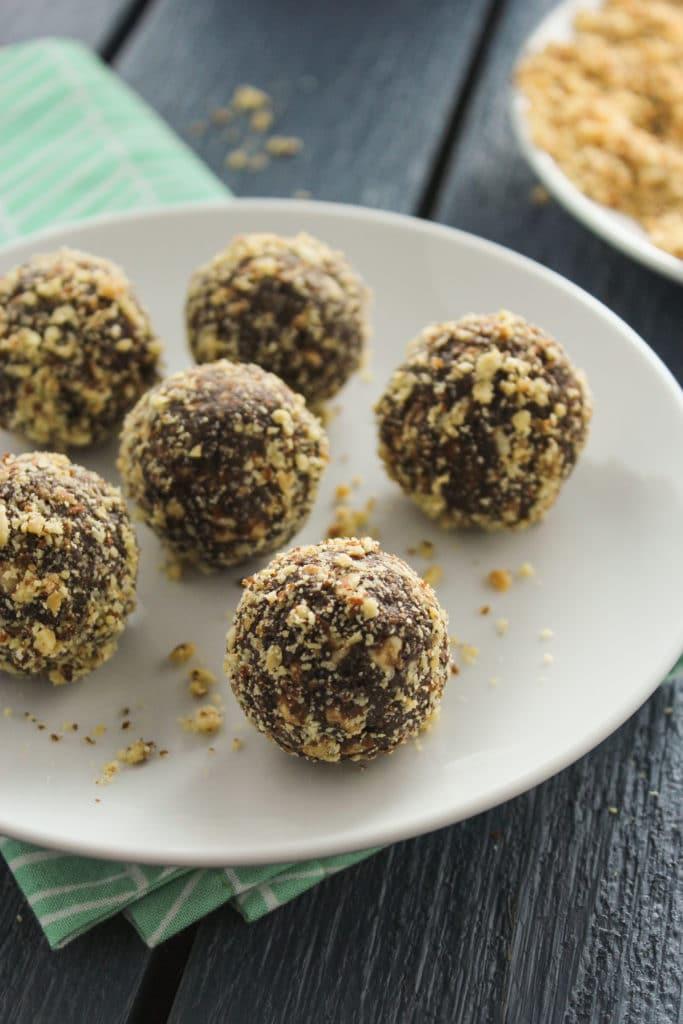 Chocolate Almond Energy Balls on Plate