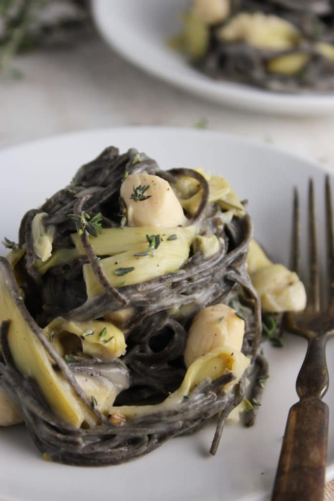 Healthy Pasta with Bay Scallops and Creamy Cauliflower Sauce Plate and Fork