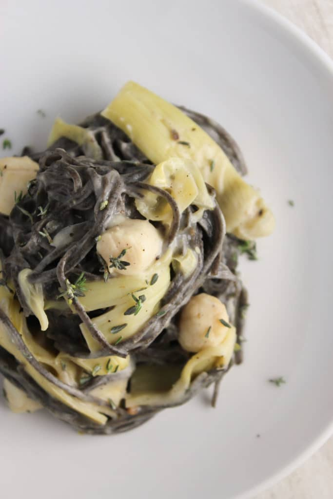 Healthy Pasta with Bay Scallops and Creamy Cauliflower Sauce on Plate