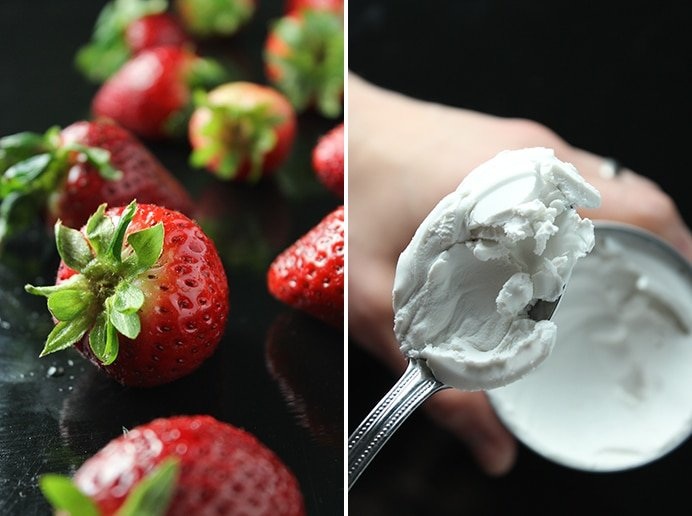 Chocolate Créme Filled Strawberries Cream Spoon