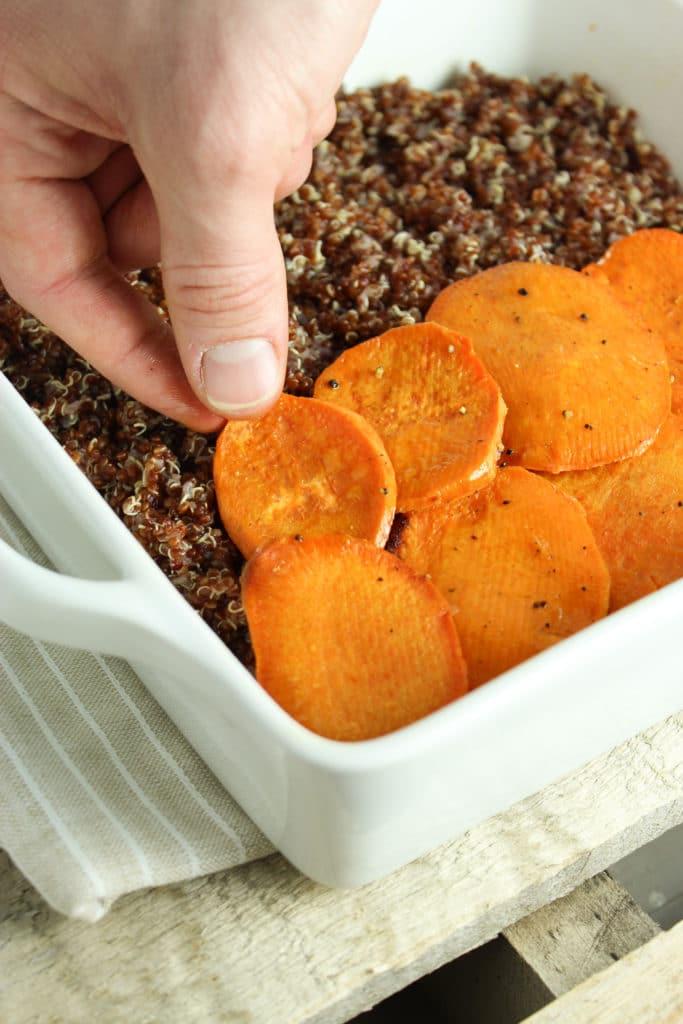 Hand Making Spicy Vegan Sweet Potato Casserole