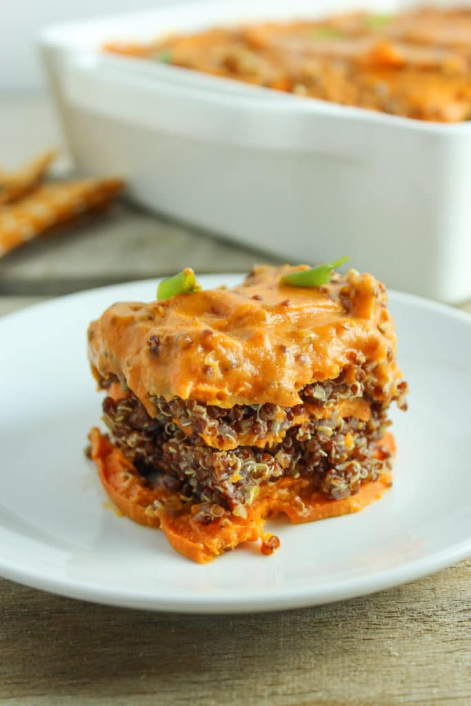 Spicy Vegan Sweet Potato Casserole on Plate