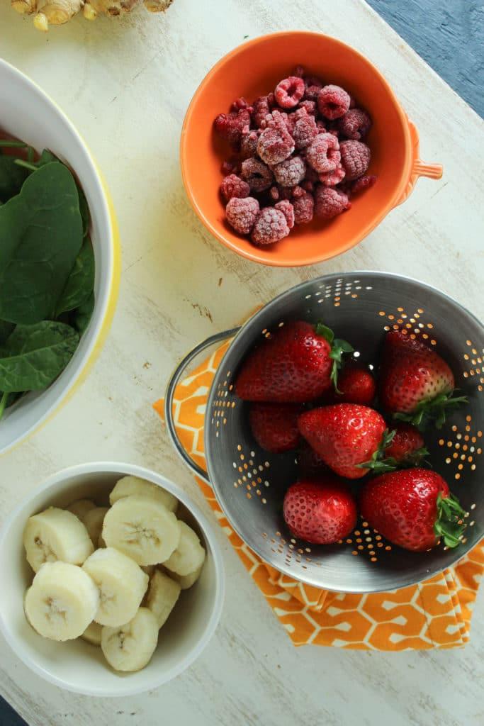 Raspberry Strawberry Banana Spinach