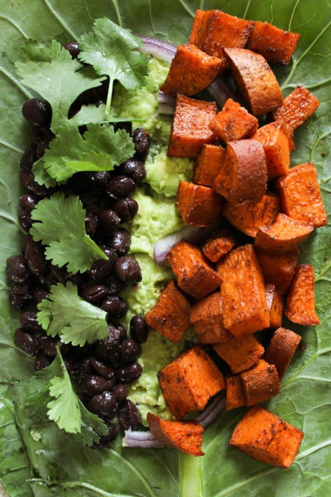 Sweet Potato Black Bean Collard Wrap