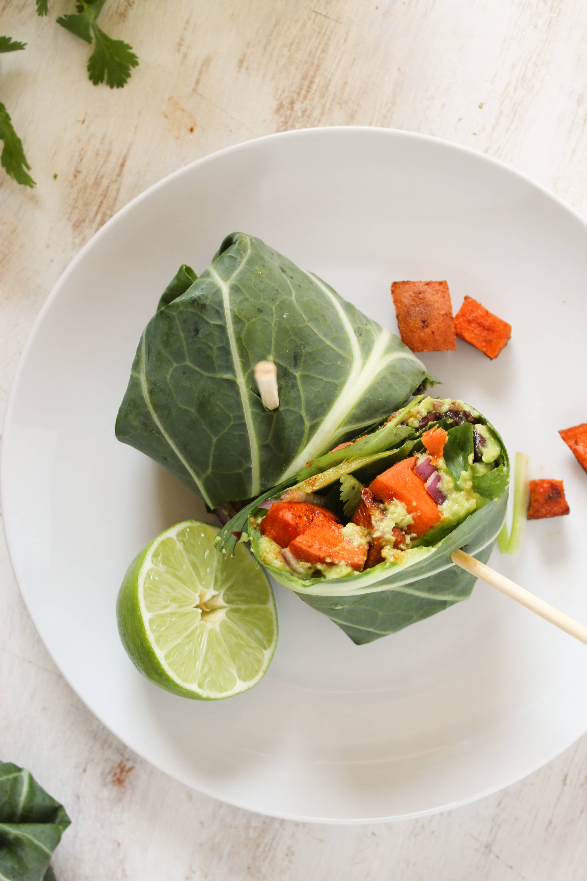 Sweet Potato Black Bean Collard Wraps