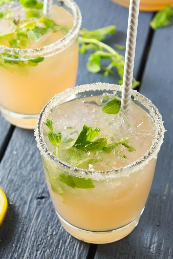2 Glasses of Rhubarb Mint Pink Lemonade