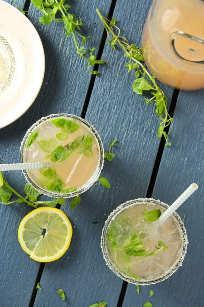 Rhubarb Mint Pink Lemonade in Glasses