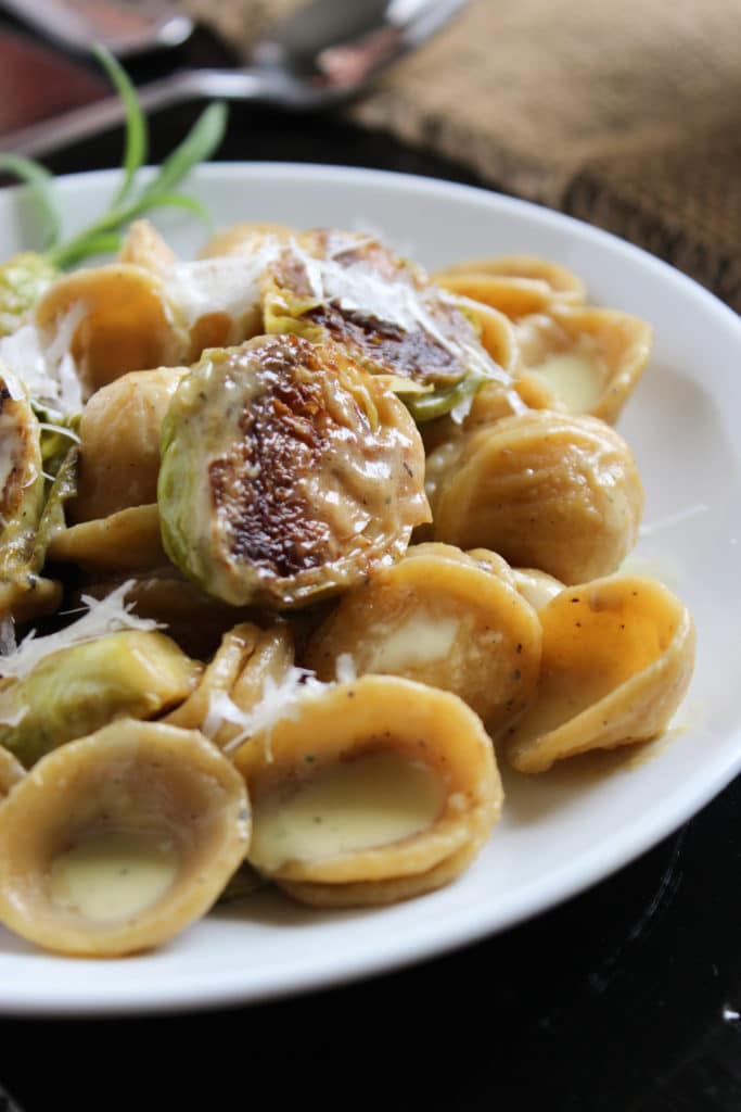 Creamy Brussels Sprout Orrechiette on Plate