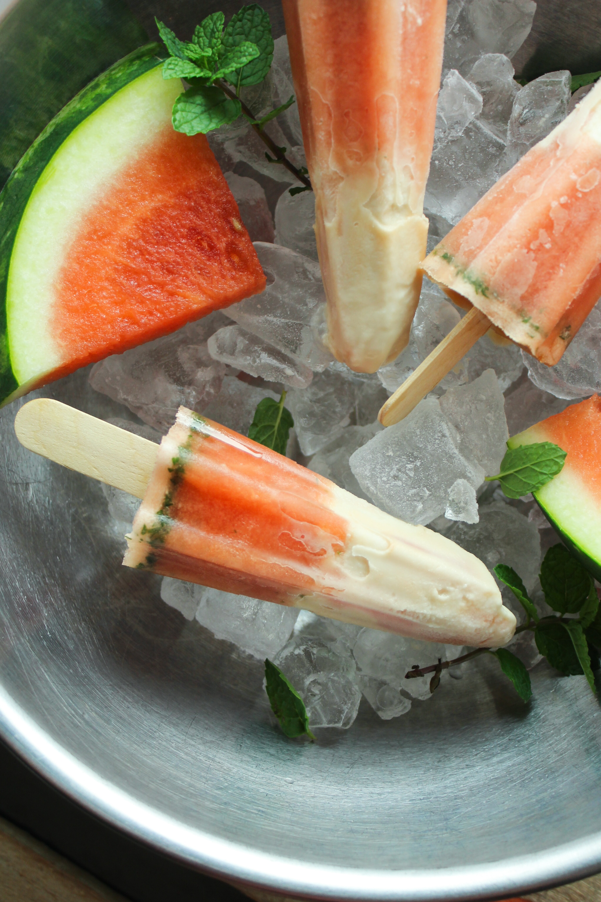Creamy Watermelon Mint Popsicles