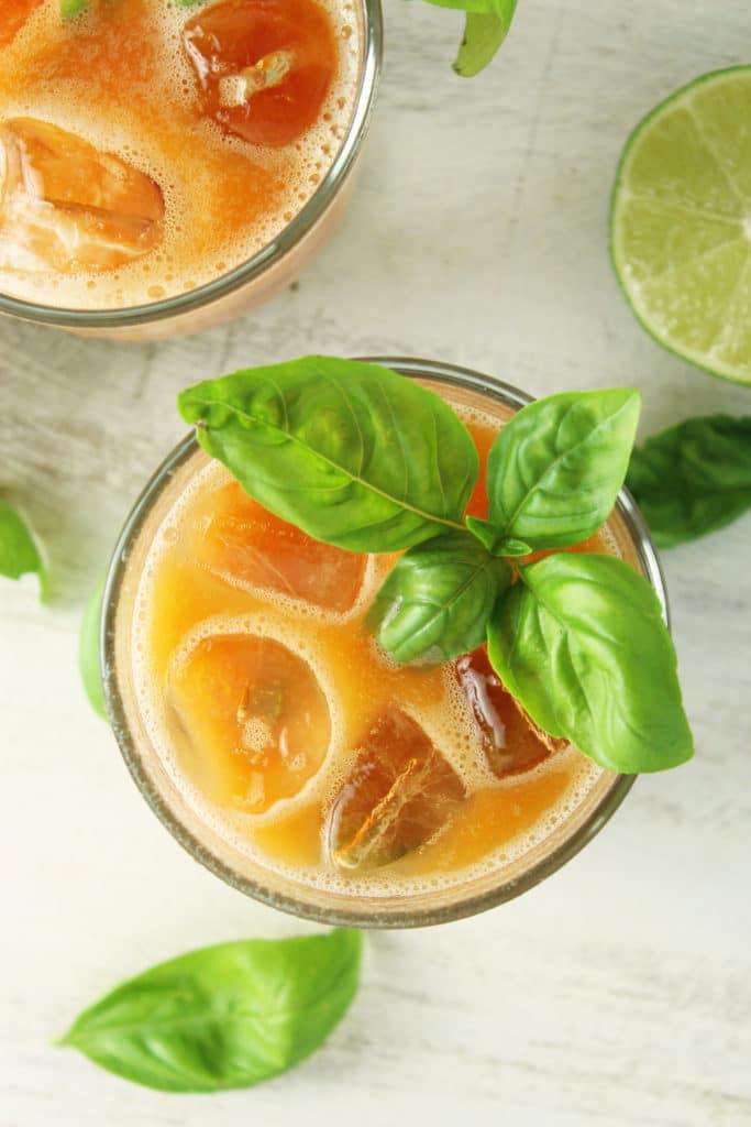 2 Peach Basil Margaritas Lime