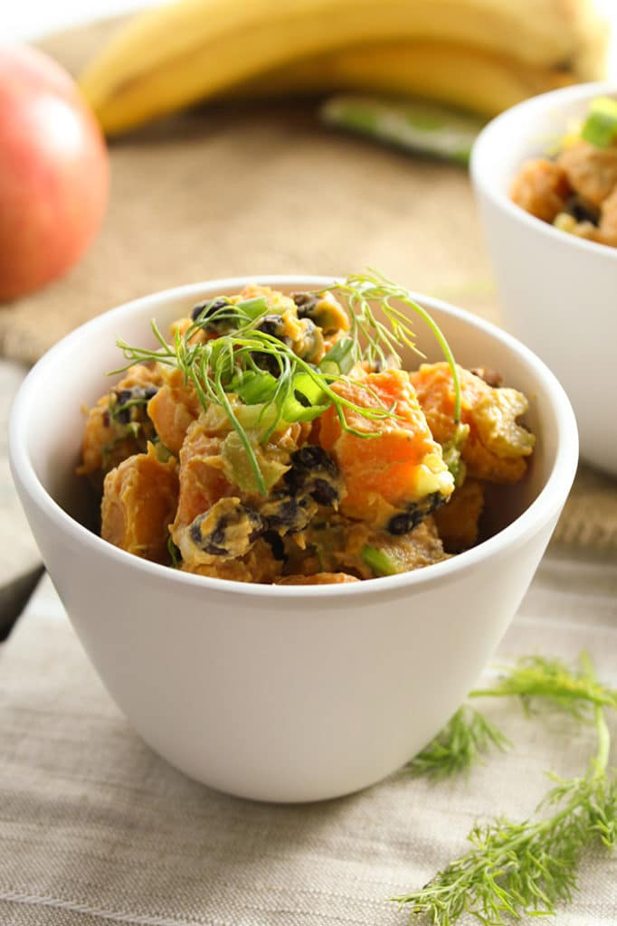 Dijon Sweet Potato Salad in bowl banana apple