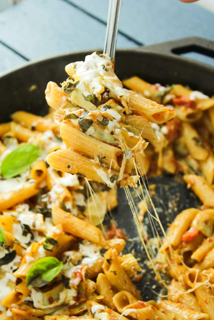 One Pot Tomato Artichoke Penne Pan on Fork