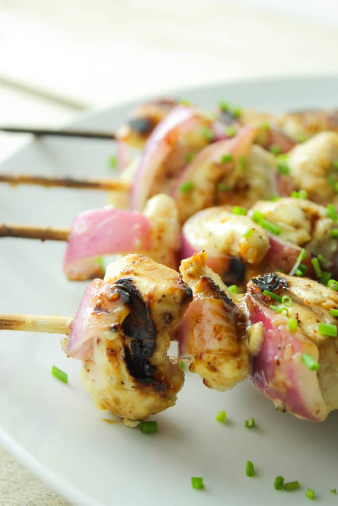 Maple Mustard Grilled Chicken on Sticks