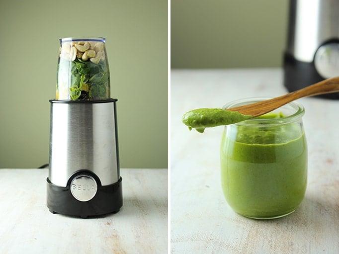 Blender Pesto in Jar with Spoon