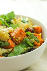 Roasted Sweet Potato Salad with Ginger Miso Dressing