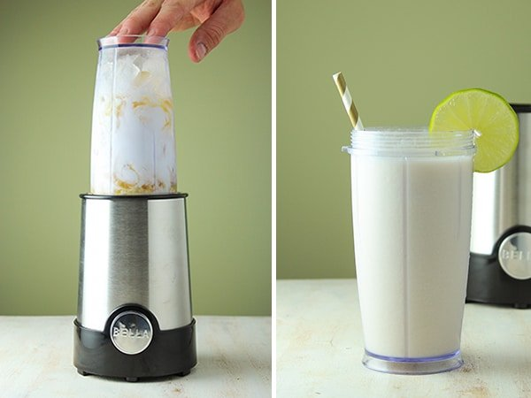 Easy Homemade Pina Coladas in Glass with Blender