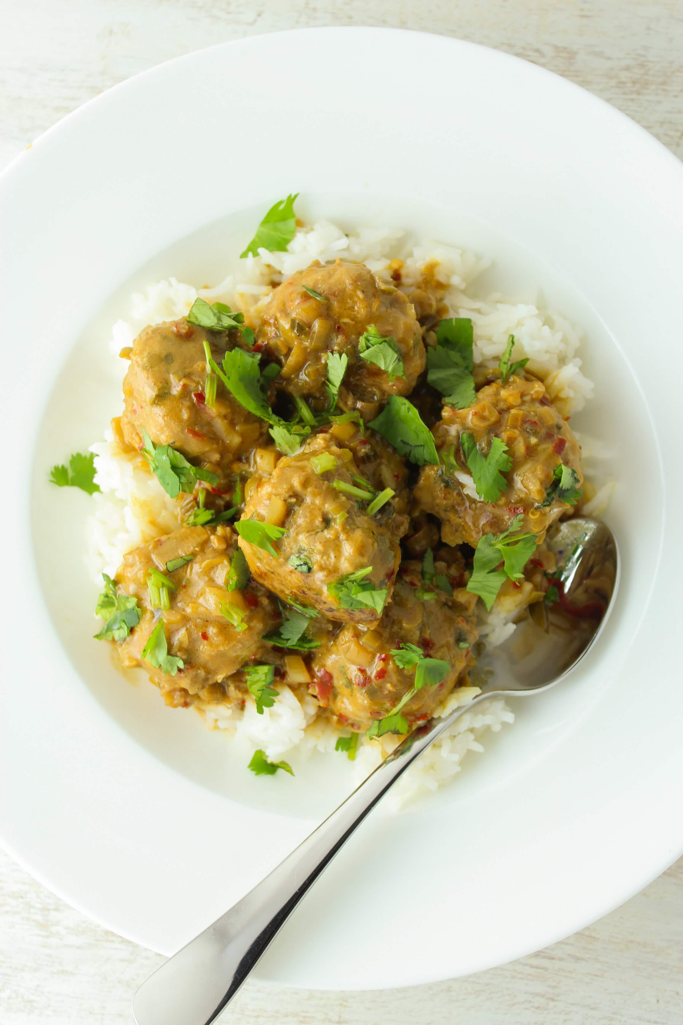 Thai Turkey Meatballs with Coconut Curry Sauce