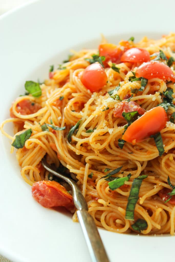 Pasta Diavolo in bowl with fork