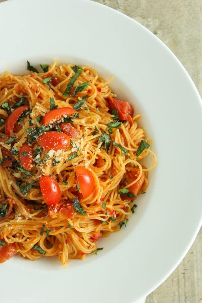 Pasta Diavolo on plate