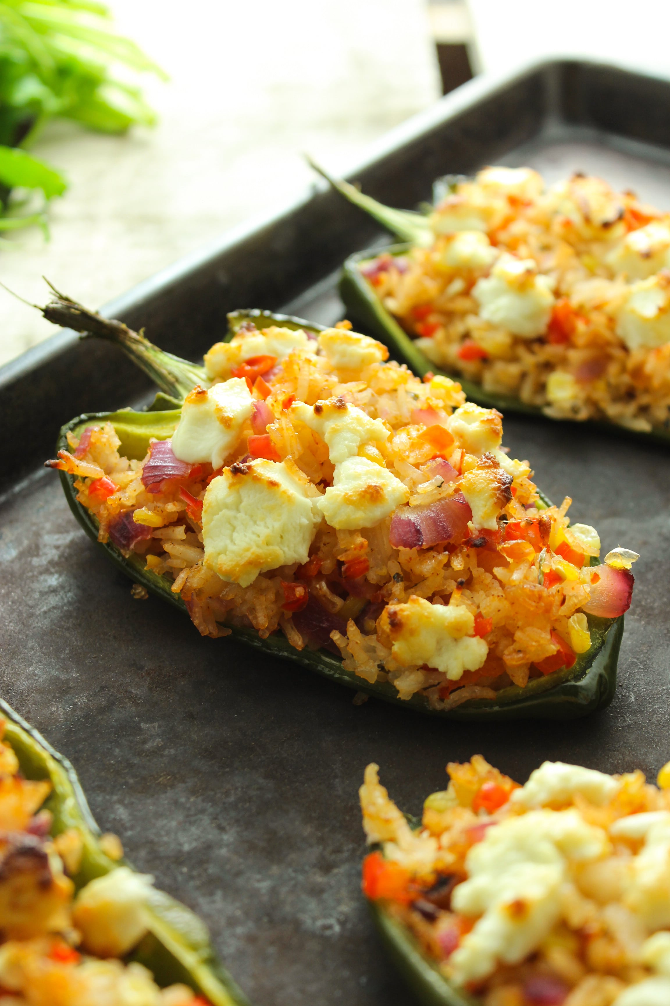 Goat Cheese Stuffed Poblano Peppers