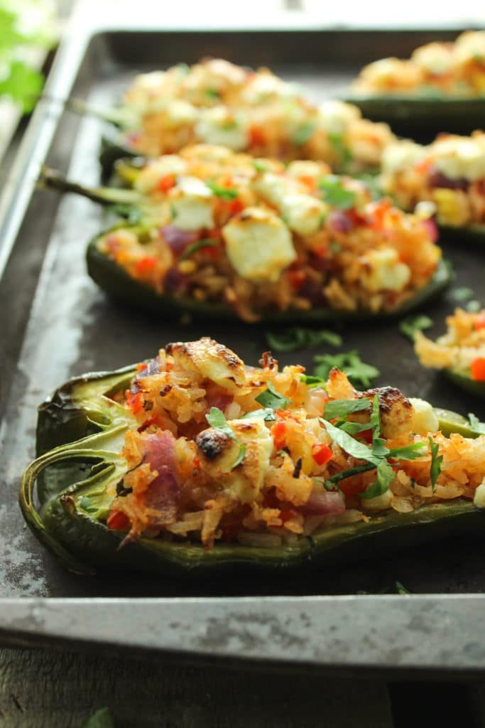 Goat Cheese-Stuffed Poblano Peppers on Oven Tray