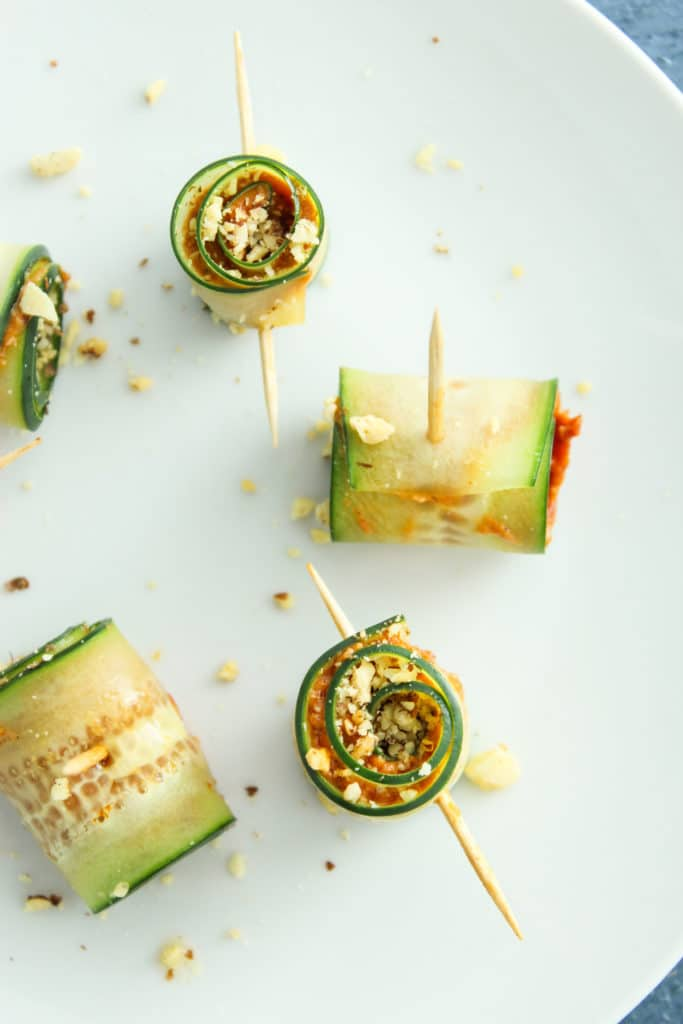 5 Vegan Cucumber Pinwheels with Sundried Tomato Pesto