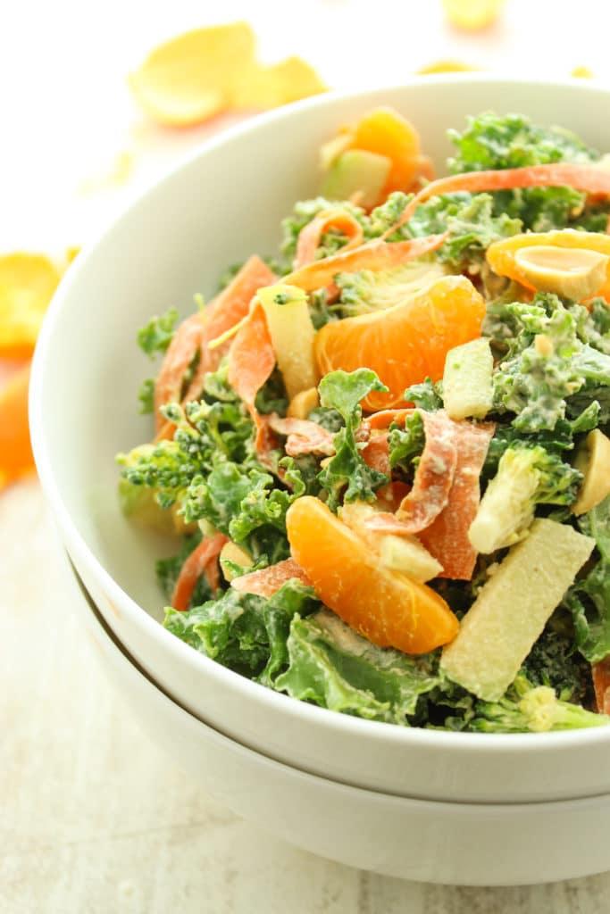 Asian Mandarin Kale Salad in White Bowl