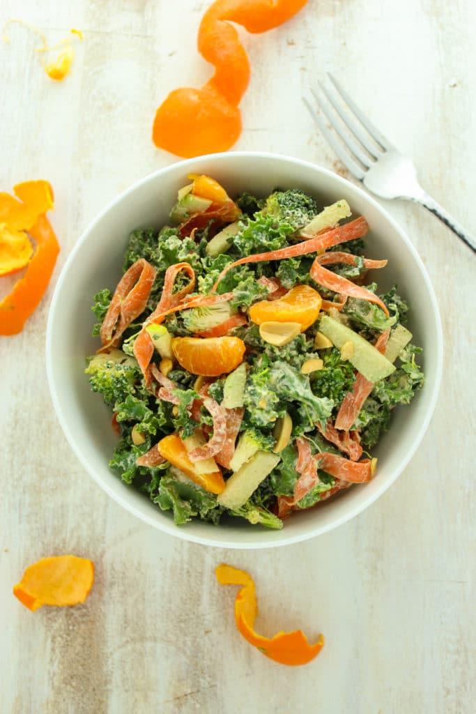 Asian Mandarin Kale Salad in Bowl with Fork
