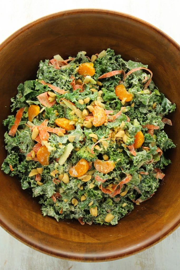 Asian Mandarin Kale Salad in Wooden Bowl