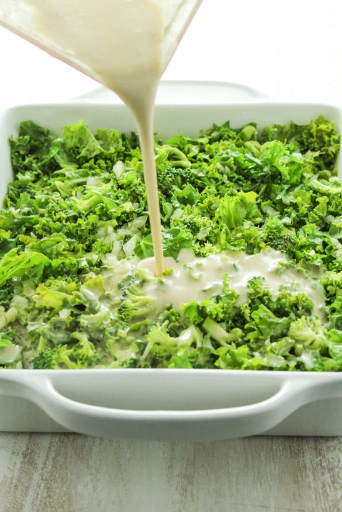 Poring Sauce into Creamy Vegan Green Casserole