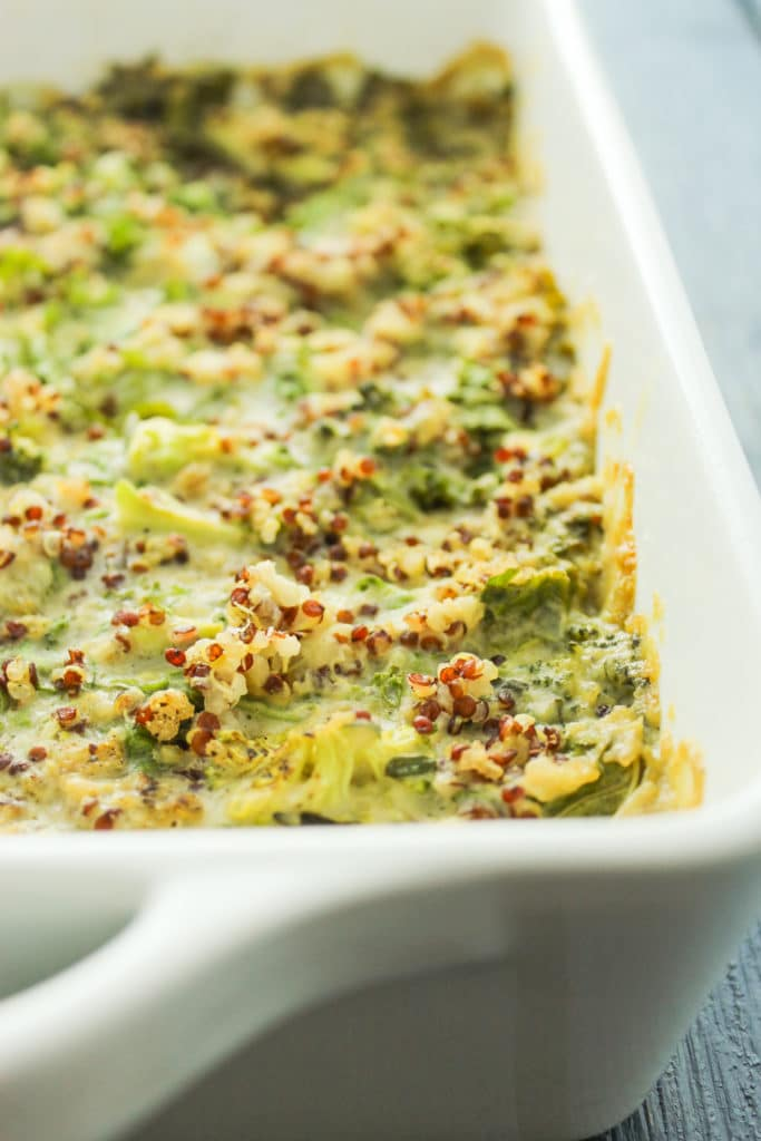 Creamy Vegan Green Casserole in Dish