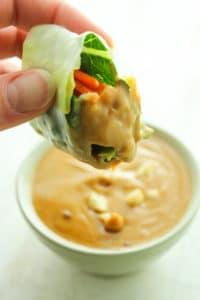 Vegan Summer Rolls with Creamy Peanut Dip and Chili Garlic Sauce