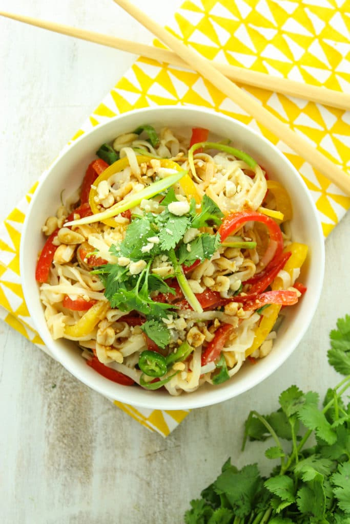 15-Minute Thai Rice Noodle Salad in Bowl with Chop Sticks