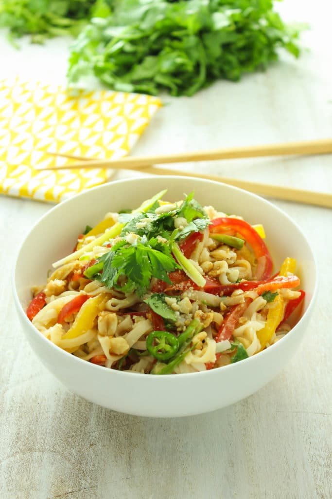 15-Minute Thai Rice Noodle Salad in bowl