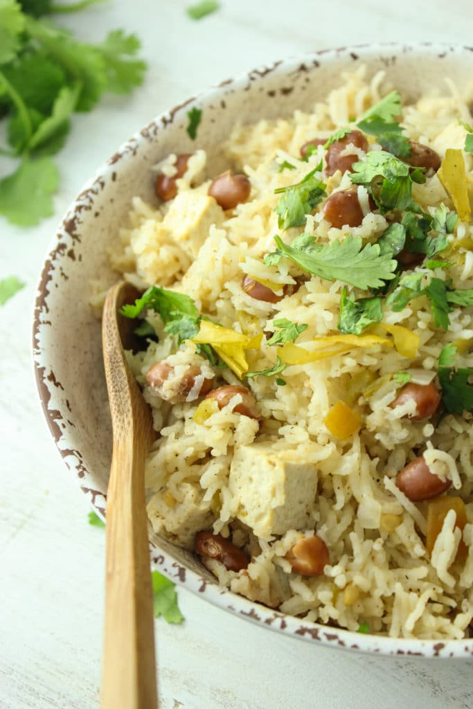 Chile Verde Tofu and Rice in Bowl with Spoon