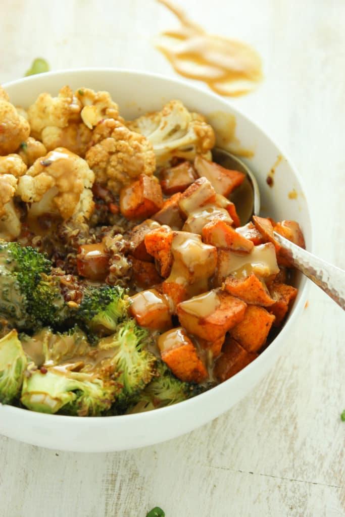 Sweet Potato and Cauliflower Quinoa Bowls Spoon