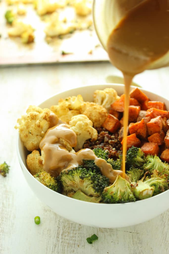 Sweet Potato Cauliflower Quinoa Bowls Jug Pouring