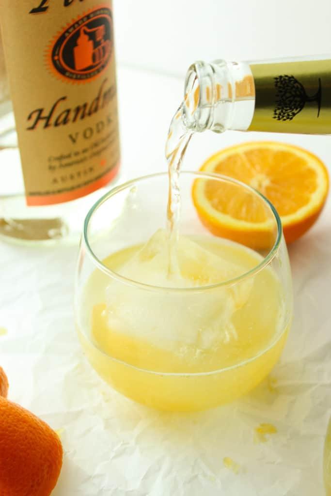 Fresh Orange Vodka Tonics Glass Bottle