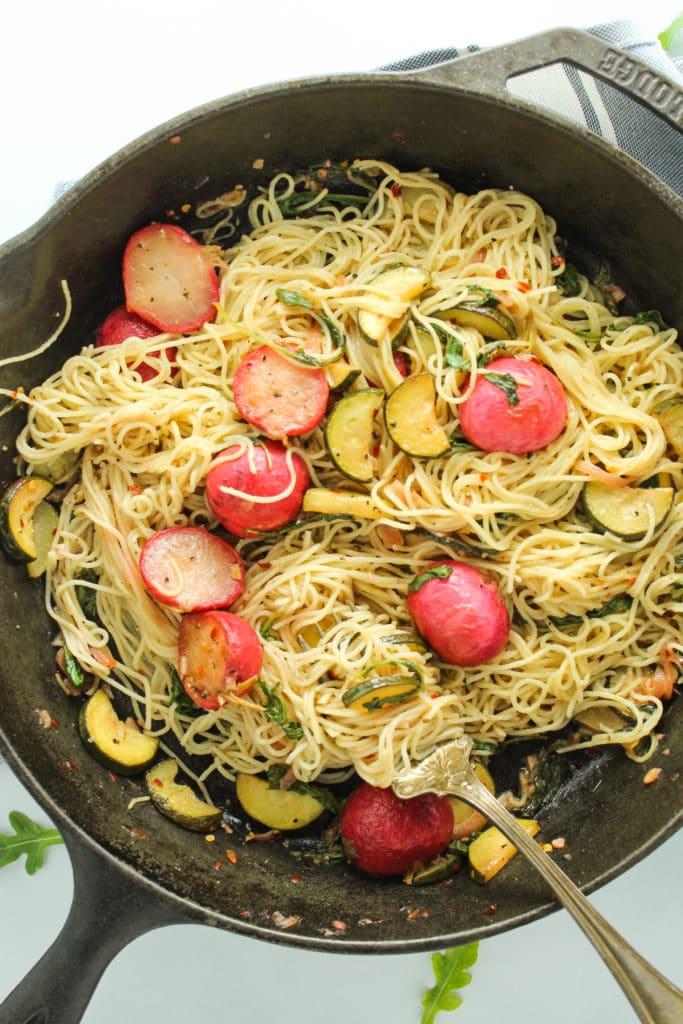 Vegan Garlic Lemon Spring Pasta Pan Fork
