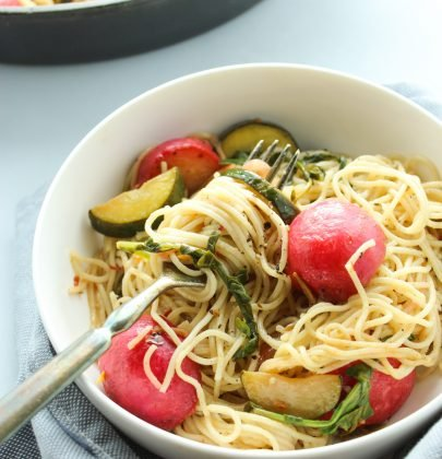 Vegan Garlic Lemon Spring Pasta