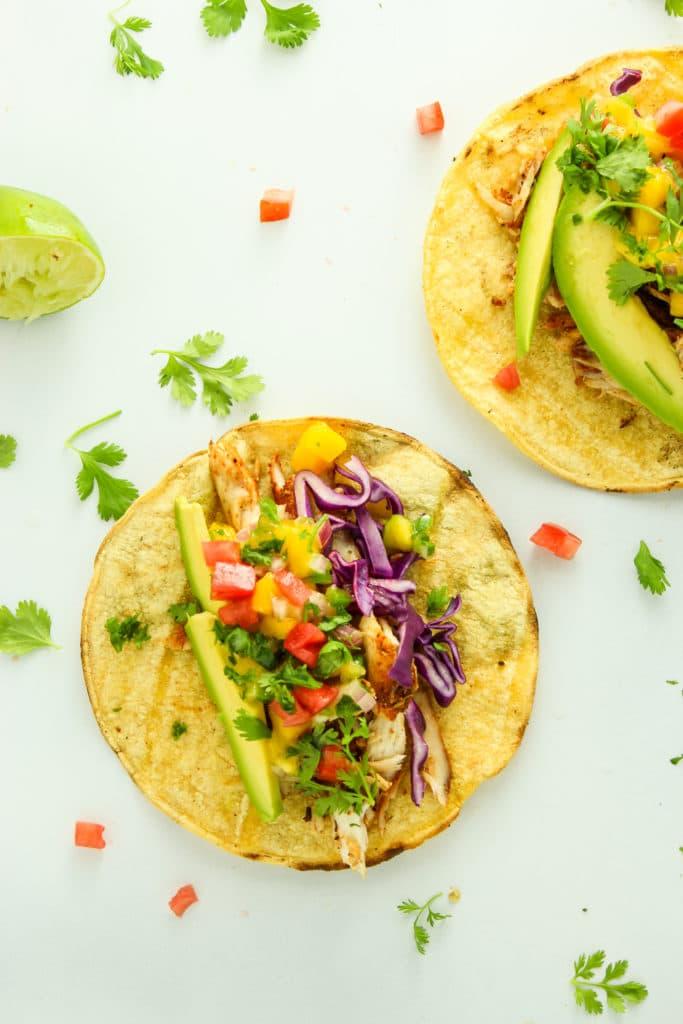 2 Grilled Mahi Mahi Tacos with Mango Salsa