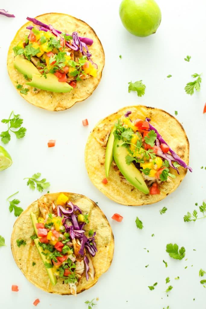 3 Grilled Mahi Mahi Tacos with Mango Salsa