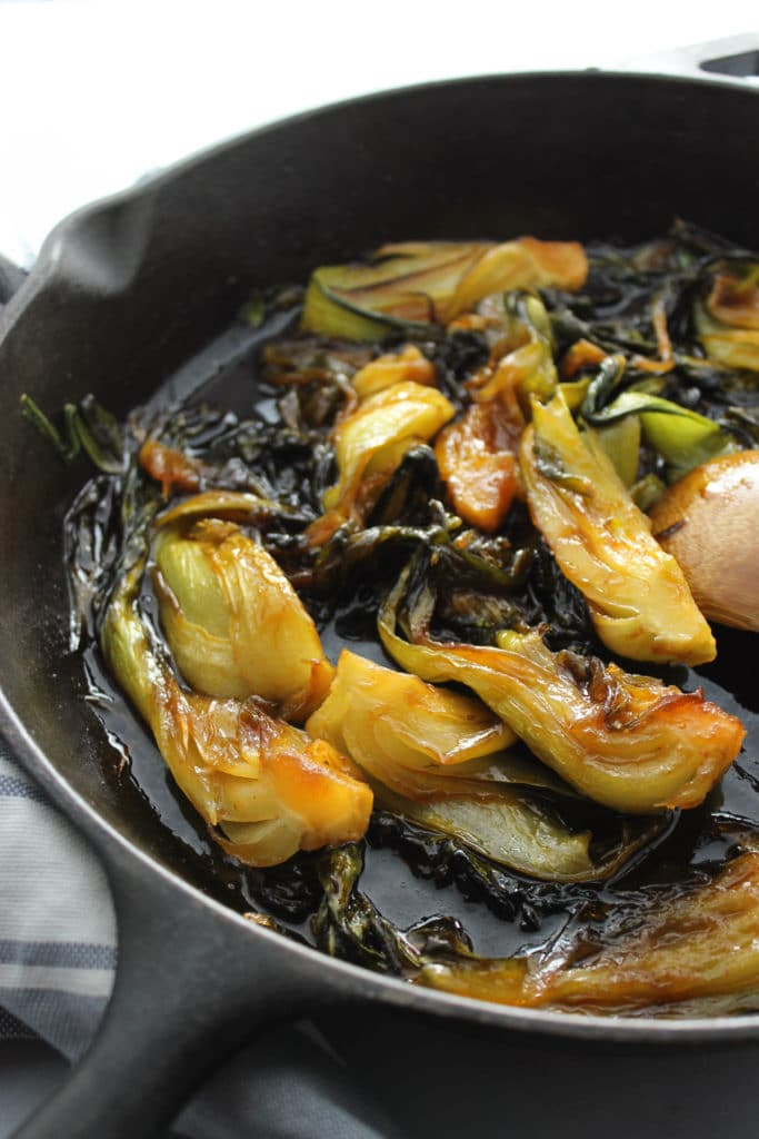 Sweet and Spicy Bok Choy in pan