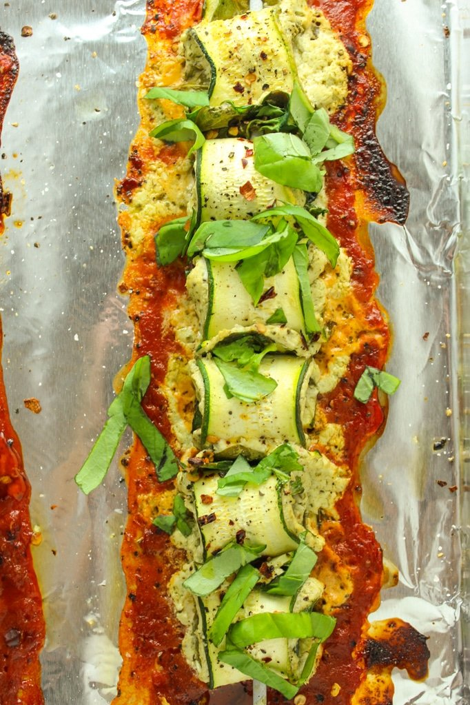 Baked Zucchini Roll Ups with Pesto Goat Cheese