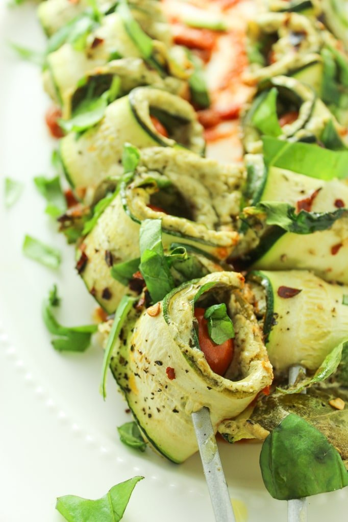 Baked Zucchini Roll Ups with Pesto Goat Cheese Close up