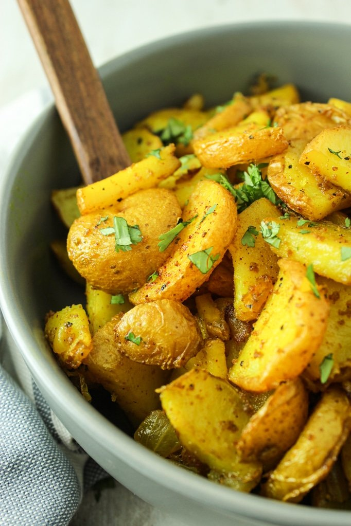 Crispy Turmeric Roasted Potatoes in pan