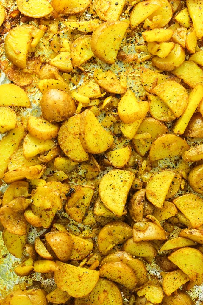 Crispy Turmeric Roasted Potatoes Close up