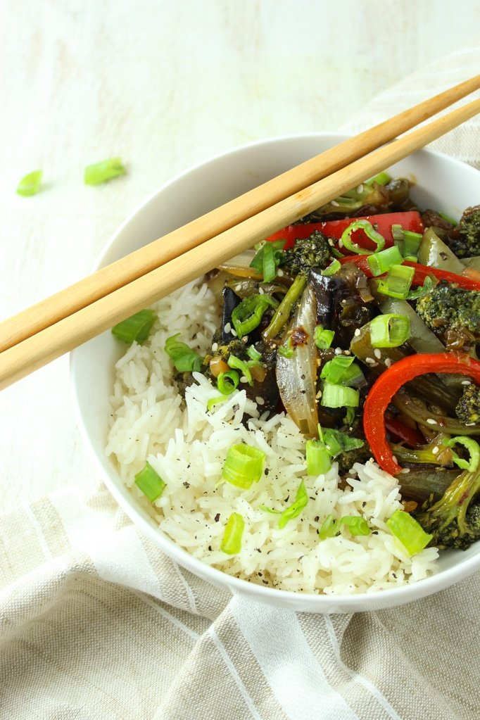 Vegan Eggplant Stir Fry with chopsticks